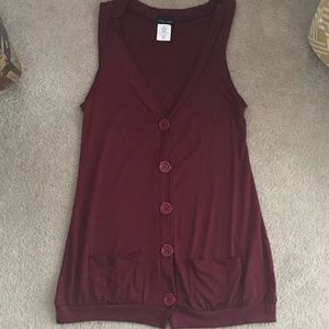 Maroon Button Down Vest